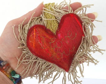 I love you - Red Love Heart Key fob - A special handmade felt tassle keyring or bag charm with gold fringe. I love you. Heart Keyring.