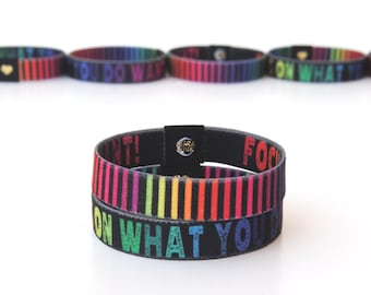 Focus On What You Do Want Wristband - Positive Affirmation Rainbow Wristband. Reversible Elastic Wristband. Rainbow Bracelet.