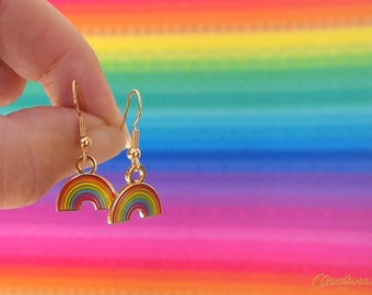 Rainbow Earrings. A cute pair of Dangly Rainbow Earrings in hard enamel with nickel free gold plating. Rainbow Charms. Rainbow Jewellery.