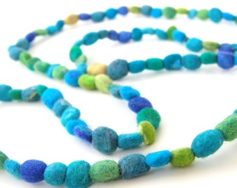 Ocean Treasues a Felt Necklace from the Candy Collection - A colourful necklace made with felted beads.