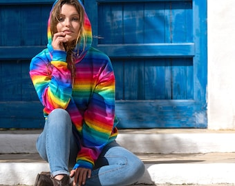 Rainbow Stripe Hoodie - A Bright and Colourful Rainbow Hoodie made with my happy rainbow stripe design. Hippie Hoodie. Festival Hoodie.