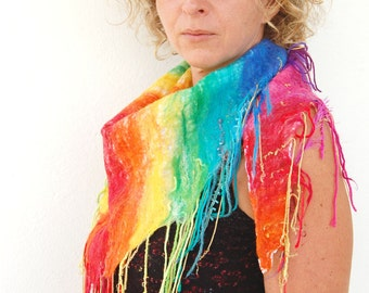 Rainbow Reflections - Felted Scarf in Rainbow, On White Lace with Rainbow and Gold ribbons, yarn tassles, Ibiza Scarf, Triangle Fringe Scarf
