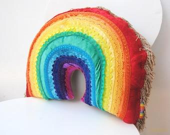 Velvet Rainbow Accent Cushion -  A Plush Large Velvet Applique Rainbow Pillow trimmed with colourful ric rac and lace. Rainbow Decor