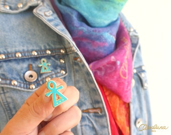 Tanit Goddess Enamel Pin - A Tanit Symbol brooch from Claraluna Ibiza in gold and turquoise. Tanit Ibiza Goddess of Love, Fertility & Dance.