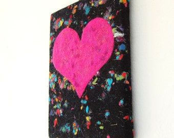 Hot Pink Heart - A felted painting with a hot pink love heart on disco dots black handmade felt. Original art. Stretched on a Canvas Frame