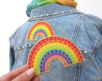 Crazy Happy Rainbow Patch - A super colourful and sparkly iron- on patch. Rainbow Patch. Rainbow gift. Rainbow of Hope. Positivity Rainbow