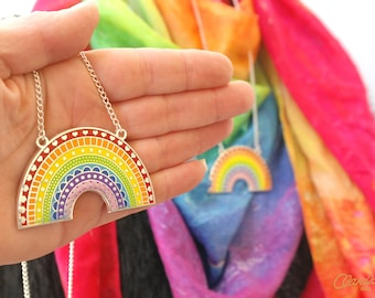 Crazy Happy Rainbow Necklace - A very happy and colourful hard enamel necklace from Claraluna Ibiza. A  silver and rainbow pendant.