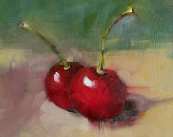 Original Oil Painting, Cherries with Green Background , Kitchen Art, Food Art, Small Format Art, Mini Painting, Cherry Painting