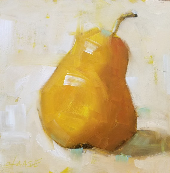Original 6 X 6 Oil Painting Pear W White Background Kitchen Art Food Art Small Format Art Mini Painting Pear Painting Free Shipping