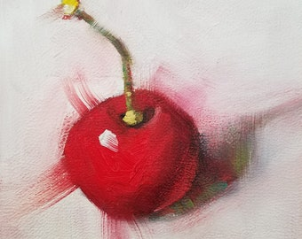 Original Oil Painting, Cherry on White, Kitchen Art, Food Art, Small Format Art, Mini Painting, Cherry Painting