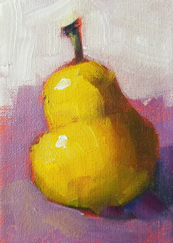 Aceo Original Oil Painting Pear On Purple Kitchen Art Food Art Small Format Art Mini Painting Pear Painting