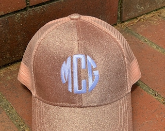 7a9b3ba349b5e NEW Kids Rose Gold Monogram Glitter CC Messy bun  High Ponytail Ball Cap~Youth  Hat~Personalized Hat