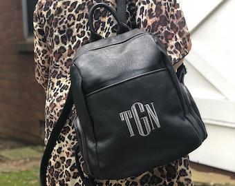 af192ee270 Vegan Leather Monogram Backpack- Book bag-Monogram Purse-Diaper Bag-Personalized  Purse-Initials