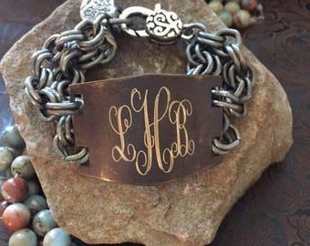 Engraved Bracelet-Monogram Bracelet-Jewelry-Personalized Bracelet-Brass-Bronze