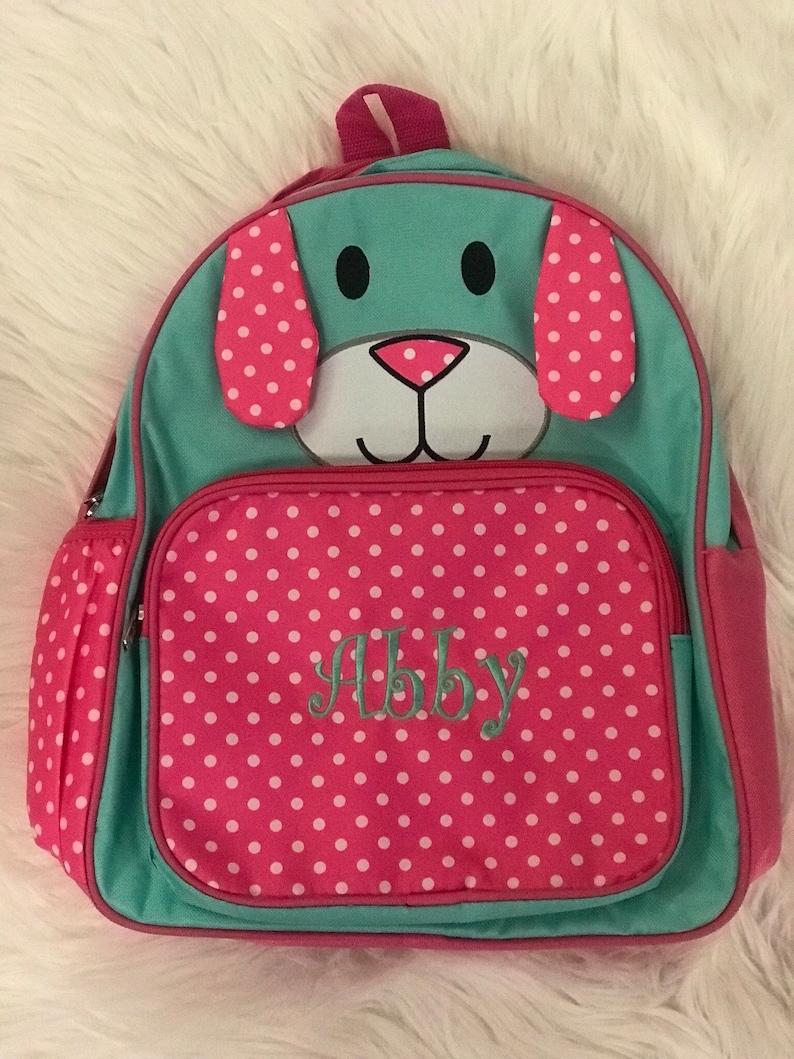 PERSONALIZED monogram Backpack book bag pink polka dots school book bag NEW