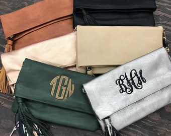 Monogram Tassel purse-Monogram Purse-Fold Over Style- Shoulder Bag-Wristlet-Crossbody-Monogram included