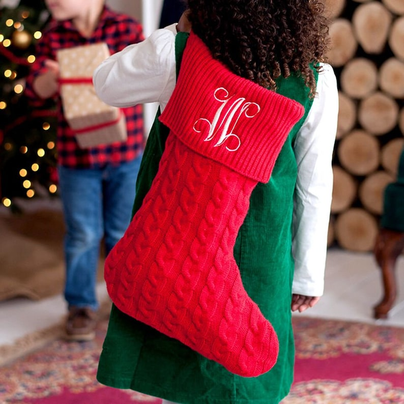 Cable Knit Christmas Stockings.Red Cable Knit Christmas Stocking Monogram Included Classic Stocking Christmas Stocking
