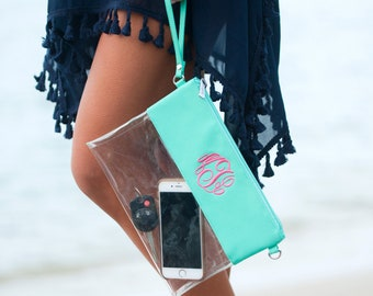 Mint Game Day Purse~Stadium Approved Bag-Clear Game day bag-Clear Wristlet-Monogrammed Clear Pouch