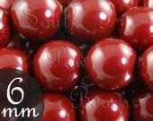 5810 Swarovski glass pearls, 6mm Bordeaux, Qty 25