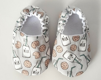 Baby Shoes, Baby Moccasins, Cookies & Milk /Baby Moccs / Childrens Indoor Shoes /Soft Soled Shoes /Baby Boy Girl Gender Nuetral / Baby Mocs