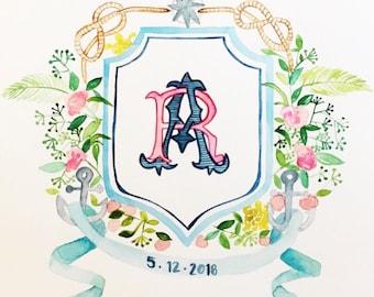 custom illustrated watercolor crest