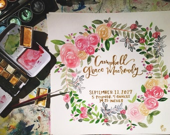 watercolor birth annoucement