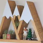 Mountain Range, Wood Shelf, Three Sisters, Oregon, Room Decor, Snow Peak Mountain, Forest, Reclaimed Wood, Triangle, Geometric
