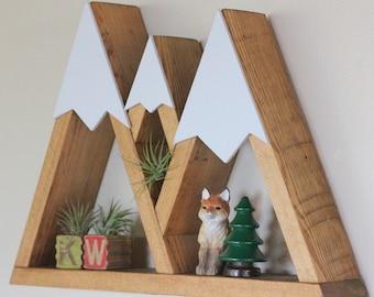 Mountain Shelf, Triple Mountain, Three Sisters, Oregon, Room Decor, Snow Peak Mountain, Forest, Reclaimed Wood, Triangle, Geometric