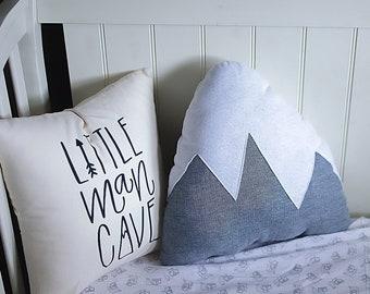 Mountain Pillow Plush Woodland Nursery Gray or Blue Boys Room Adventure Decor Baby Boy Snowy Mountain