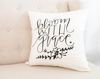 Baby Girl Nursery Pillow, Bloom With Grace, Floral Nursery,  Babe Cave, Christian , Handwritten, Motivational Quote, Craft Room