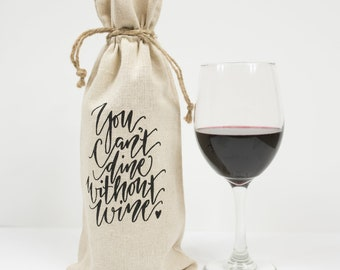 Wine Gift Bag Handwritten Birthday Holiday New Years Gift Bag Christmas Cheers Dinner Hostess Special Ocassion Adult Gift