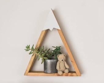 Woodland Nursery, Mountain Shelf, Room Decor, Snow Peak Mountain, Forest, Reclaimed Wood, Triangle, Geometric