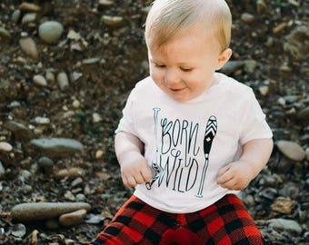Born Wild Baby Tee Shirt Outdoorsman Nature Paddle Adventure Boy 6MO 12MO 18MO 24MO