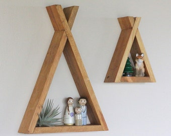 Wood Tipi Shelf, Teepee, Nursery, Room Decor, Forest, Reclaimed Wood, Triangle, Geometric, Modern Livingroom, Woodland, Camping, Wood Shelf