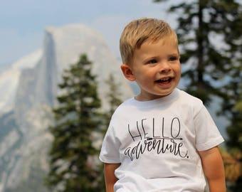 Hello Adventure Baby Nature Boys Shirt Camping Hiking Outdoorsman Lumberjack Tee Shirt 6MO 12MO 18MO 24MO