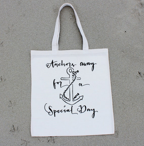 63f112485875 Cruise Ship Wedding Anchor Tote Bag Nautical Beach Favor