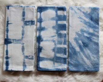 BULK Listing - Tea Towels, Baby Shower, Indigo Party Favor, BEACH Wedding, Bridal Shower, Workshop Gift, Client Gift, Shibori, Boho