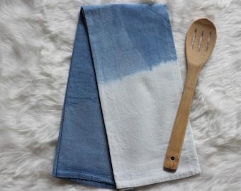 Shibori Indigo Flour Sack Tea Towel Blue Kitchen Towels Modern Kitchen Dip Dyed Beachy Boho Housewarming Gift