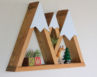 Mountain Shelf, Nursery Shelf, Oregon, Geometric Shelf, Floating Shelf, Snow Peak Mountain, Woodland, Boys Room, Triangle, Gender Neutral