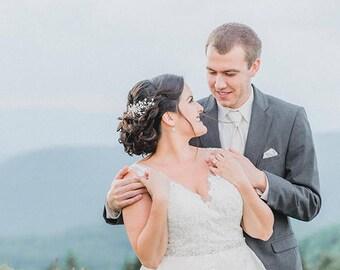 Pearl Hair Vine with Rhinestones, Wedding Headpiece, Organic Hair Comb, Bridal Hair Comb