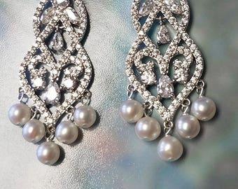 Crystal Wedding Earrings, Chandelier Earrings, Custom Pearl Earrings, Wedding Jewelry, Dangle Bridal Earrings, Lux Bridal Jewelry