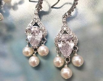Pearl Earrings with CZ Teardrop, Wedding Jewelry, Dangle Earrings, Crystal Earrings, Bridal Jewelry, Chandelier Earrings