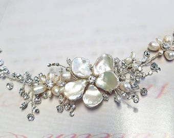 Crystal Hair Vine with Pearl Flowers, Wedding Headpiece, Boho Floral Hairpiece, Organic OOAK Bridal Hairpiece, Silver Vine
