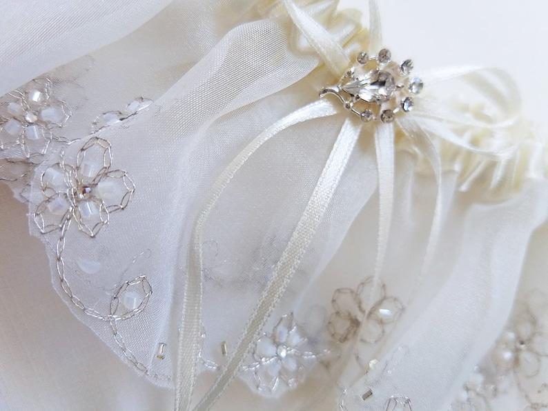 Wedding Garter with Rhinestone Embellishment Ready to Ship Ivory Bridal Garter