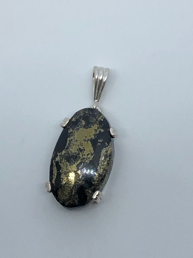 Genuine Healers Gold Cabochon in Sterling Silver Dangle Pendant