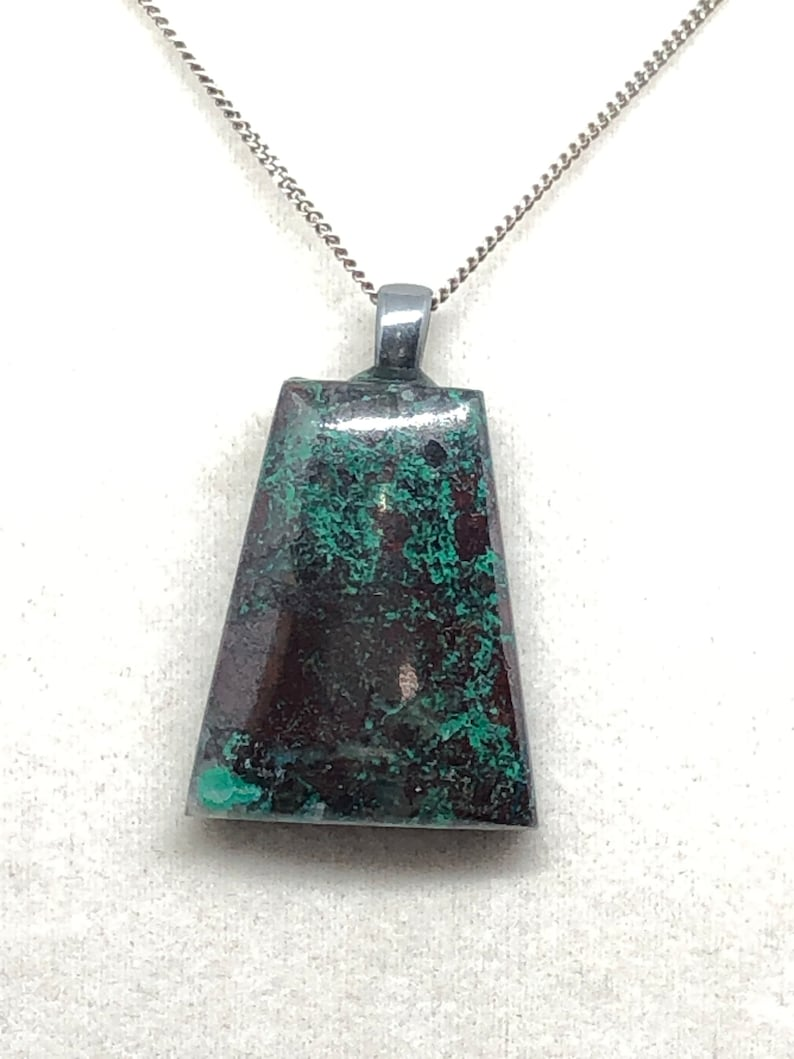 Genuine Chrysocolla Free form Cabochon with a Antiqued Pewter bail