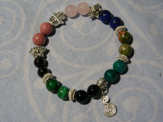 Charged Unakite Gemstone Bracelet Stretches to fit 1 Vision-Insight-Grounding