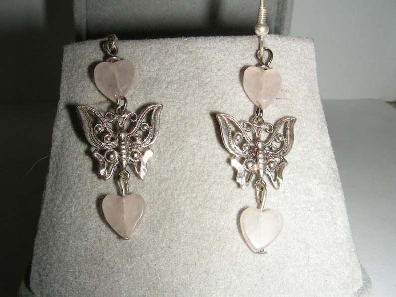 Heart Shaped Rose Quartz Beads Sterling Silver Ear Wire Earrings Sterling Silver Butterflies