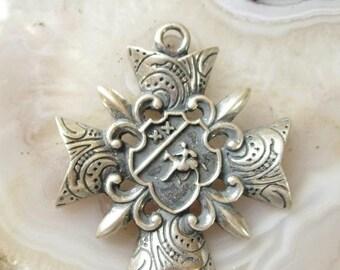 Fleur De Lis Shield Louisiana Silver Charm Pendant C0381 5 PCS
