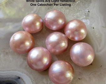 Natural Color, QTY1 Lustrous Pearl SALE Blush Pink Natural Mabe Pearl Cabochon 10mm 11mm